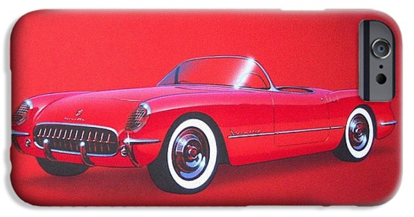 1953 Corvette Classic Vintage Sports Car Automotive Art IPhone Case by John Samsen