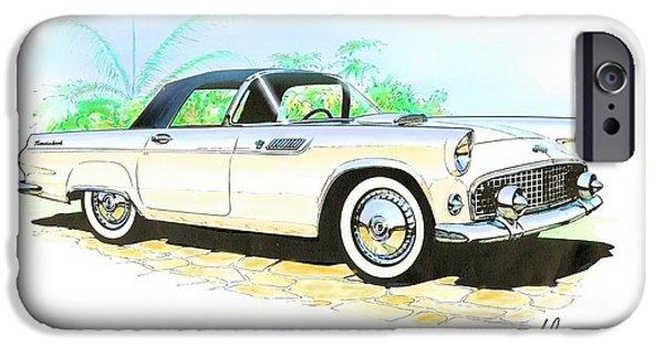 1955 Thunderbird Painting IPhone Case by John Samsen