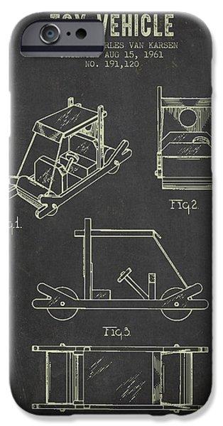 1961 Toy Vehicle Patent - Dark Grunge IPhone Case by Aged Pixel