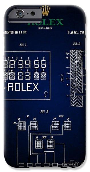 1972 Rolex Digital Clock Patent 5 IPhone Case by Nishanth Gopinathan
