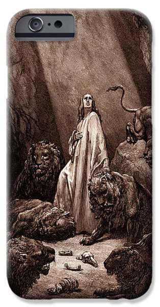 Daniel In The Den Of Lions IPhone Case by Gustave Dore