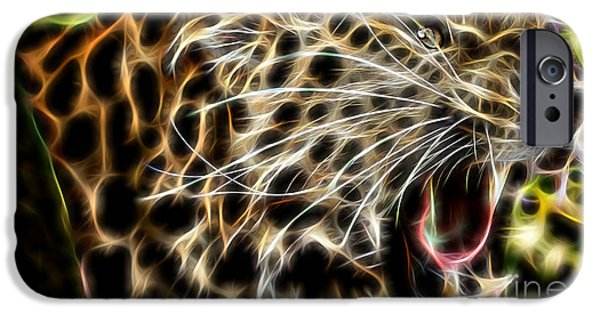 Electric Leopard Wall Art Collection IPhone Case by Marvin Blaine