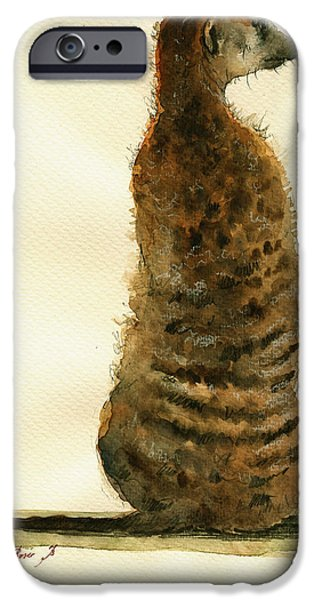 Meerkat Or Suricate Painting IPhone Case by Juan  Bosco