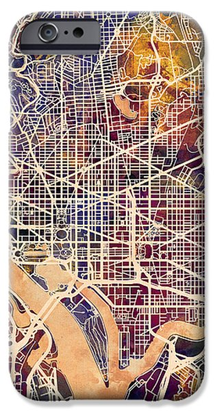 Washington Dc Street Map IPhone Case by Michael Tompsett