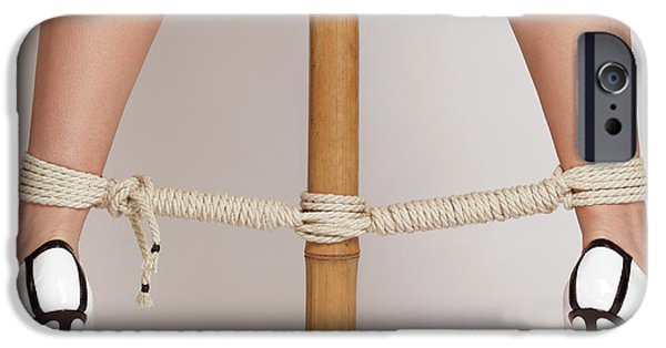 Woman Legs Tied With Ropes To Bamboo IPhone Case by Oleksiy Maksymenko