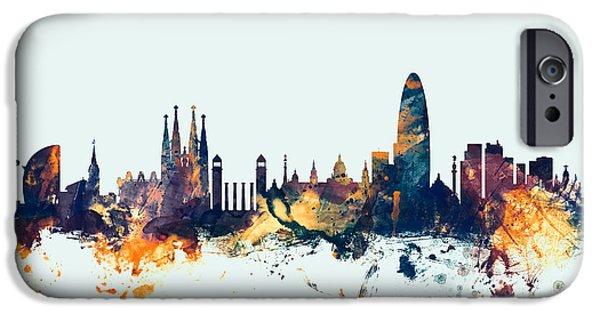 Barcelona Spain Skyline IPhone 6s Case by Michael Tompsett