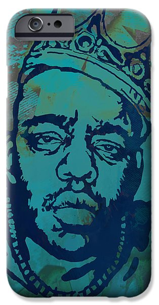 Biggie Smalls Modern Etching Art  Poster IPhone Case by Kim Wang