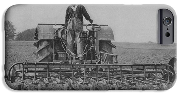 A Farmer Driving A Tractor IPhone Case by American School