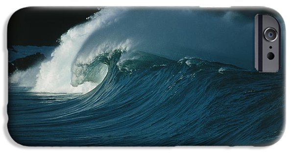 Wind-blown Wave Breaking In Hawaii IPhone Case by G. Brad Lewis