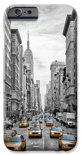 5th Avenue Yellow Cabs - Nyc IPhone Case by Melanie Viola