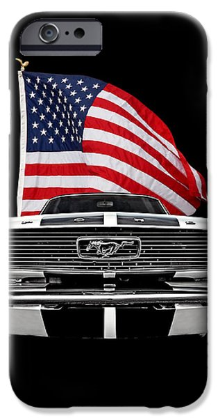 66 Mustang With U.s. Flag On Black IPhone Case by Gill Billington
