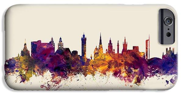 Glasgow Scotland Skyline IPhone Case by Michael Tompsett