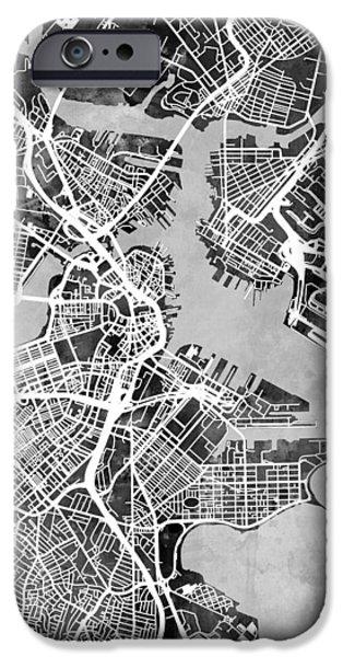 Boston Massachusetts Street Map IPhone Case by Michael Tompsett