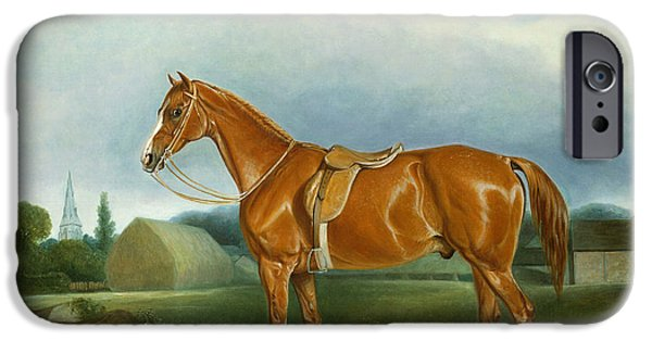 A Chestnut Hunter And A Spaniel By Farm Buildings  IPhone Case by John E Ferneley