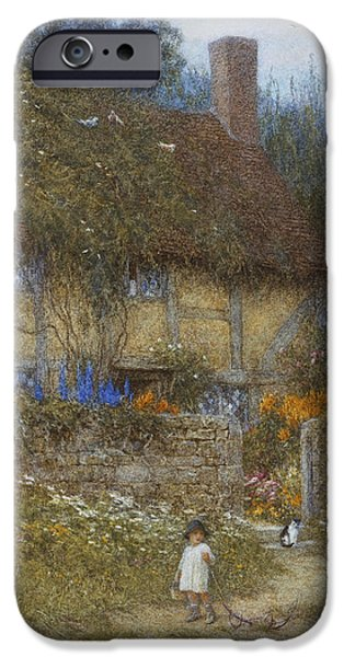 A Cottage Near Godalming Surrey IPhone Case by Helen Allingham