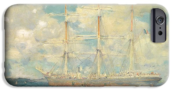 A French Barque In Falmouth Bay IPhone Case by Henry Scott Tuke
