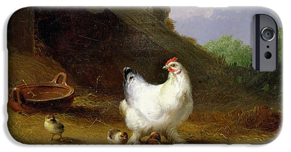 A Hen With Her Chicks IPhone Case by Eugene Joseph Verboeckhoven