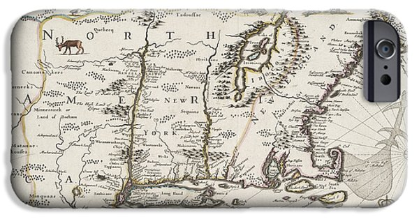 A Map Of New England And New York IPhone Case by John Speed