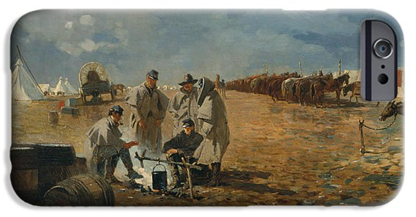 A Rainy Day In Camp IPhone Case by Winslow Homer