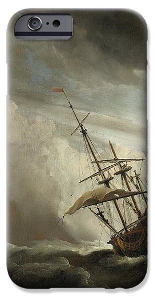 A Ship On The High Seas Caught By A Squall IPhone Case by Willem van de Velde the Younger