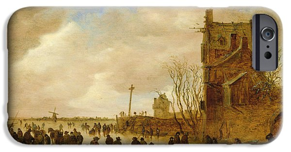 A Winter Skating Scene IPhone Case by Jan Josephsz van Goyen