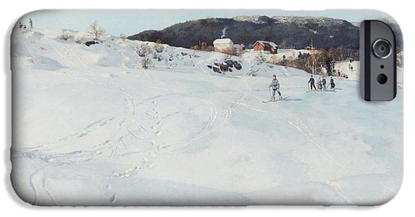 A Winter's Day In Norway IPhone Case by Fritz Thaulow