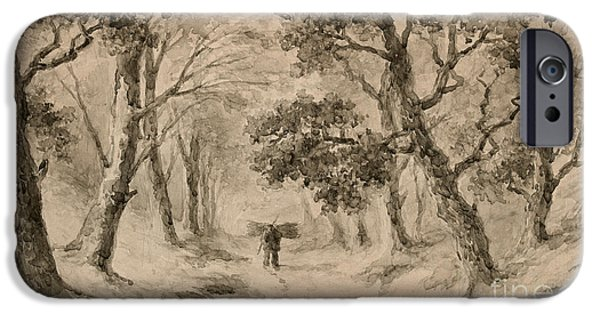 A Wood Gatherer In The Forest IPhone Case by Anton Mauve