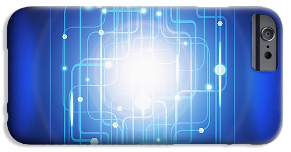 Abstract Circuit Board Lighting Effect  IPhone Case by Setsiri Silapasuwanchai