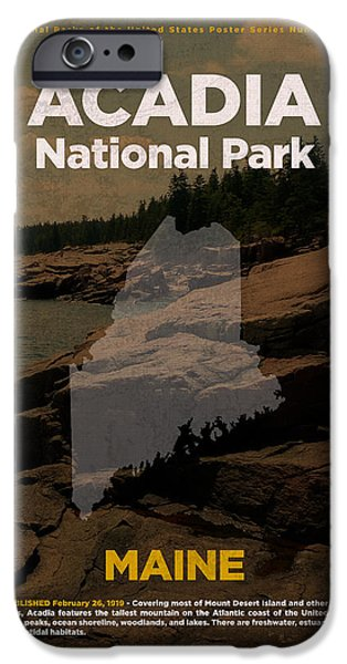 Acadia National Park In Maine Travel Poster Series Of National Parks Number 01 IPhone Case by Design Turnpike