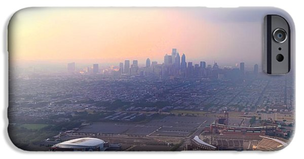 Aerial View - Philadelphia's Stadiums With Cityscape  IPhone Case by Bill Cannon