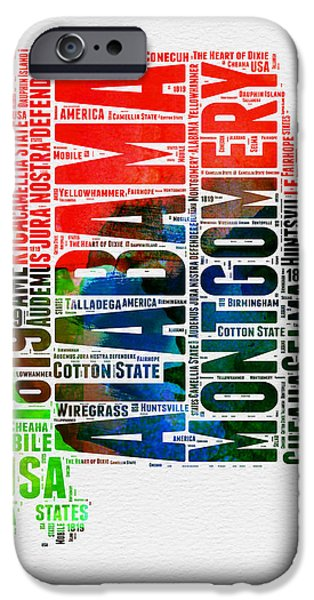 Alabama Watercolor Word Cloud  IPhone Case by Naxart Studio