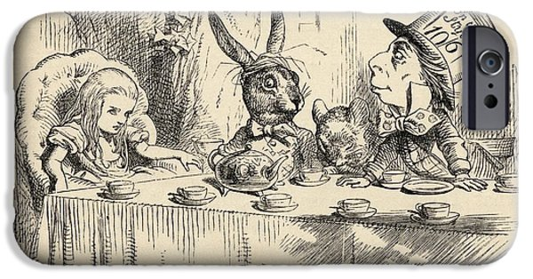 Alice At The Mad Hatter S Tea Party IPhone Case by Vintage Design Pics