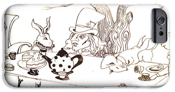 Alice In Wonderland - Mad Hatters Tea Party IPhone Case by Natalie Manifold