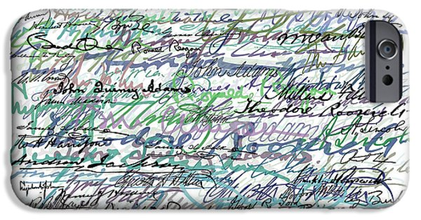 All The Presidents Signatures Teal Blue IPhone Case by Tony Rubino