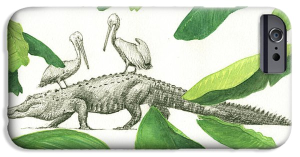 Alligator With Pelicans IPhone 6s Case by Juan Bosco