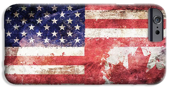 American Canadian Tattered Flag IPhone Case by Az Jackson