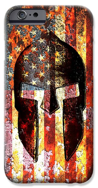 American Flag And Spartan Helmet On Rusted Metal Door IPhone Case by Fred Bertheas