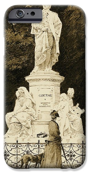 An Elegant Lady At The Statue Of Goethe IPhone Case by Paul Fischer