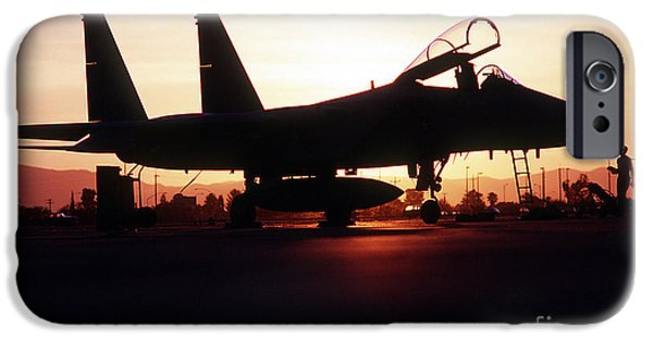 An F-15c Eagle Aircraft Silhouetted IPhone Case by Stocktrek Images