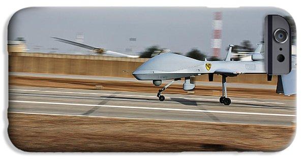 An Mq-1c Sky Warrior Uav Lands At Camp IPhone Case by Stocktrek Images