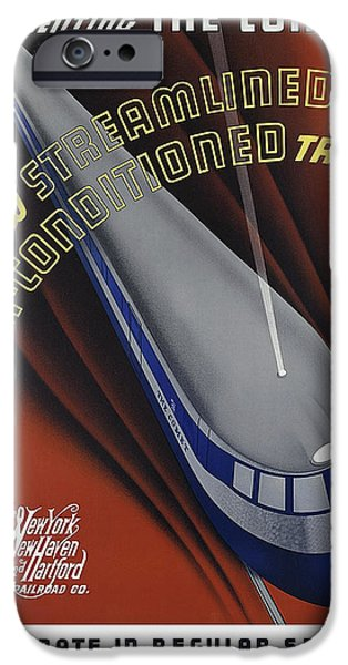 Announcing The Streamlined Air-conditioned Comet Train 1935 IPhone Case by Daniel Hagerman