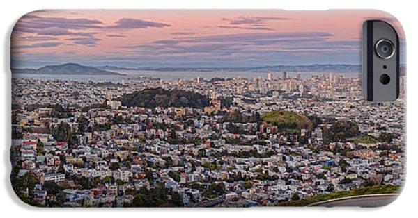 Anti-crepuscule Panorama Of San Francisco From Twin Peaks Scenic Overlook - California IPhone Case by Silvio Ligutti