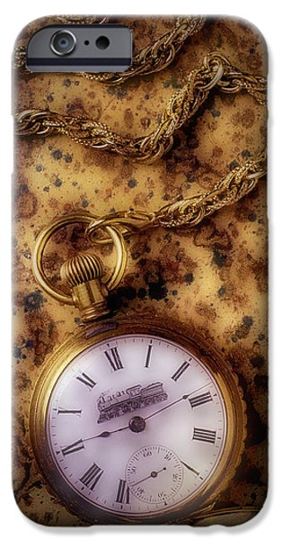 Antique Train Pocket Watch IPhone Case by Garry Gay