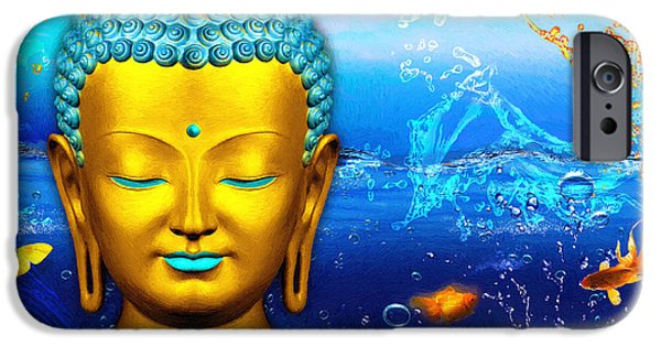 Aqua Buddha IPhone Case by Khalil Houri