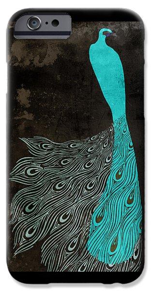 Aqua Peacock Art Nouveau IPhone Case by Mindy Sommers
