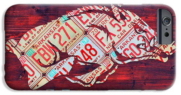 Arkansas Razorbacks Recycled Vintage License Plate Art Sports Team Logo IPhone Case by Design Turnpike