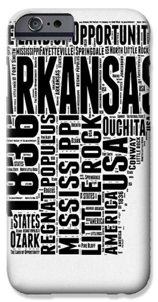 Arkansas Word Cloud 2 IPhone Case by Naxart Studio