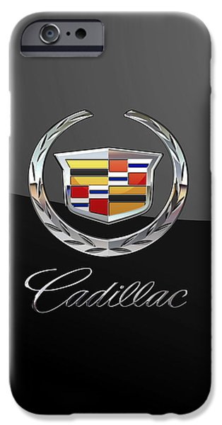 Cadillac - 3d Badge On Black IPhone Case by Serge Averbukh