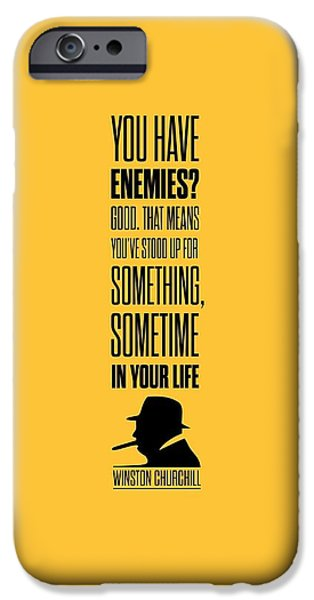 Winston Churchill Inspirational Quotes Poster IPhone Case by Lab No 4 - The Quotography Department