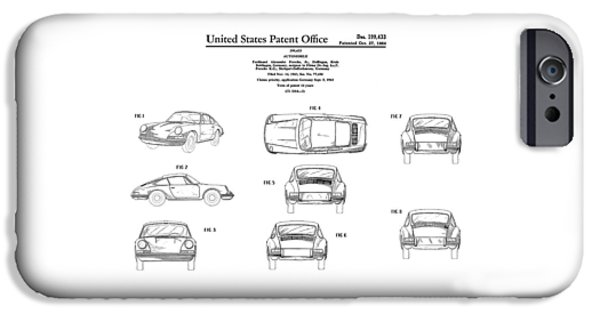 Porsche 911 Patent IPhone Case by Mark Rogan